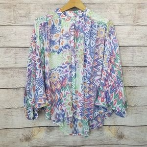Antrho Maeve Multicolor Puffy Button Down Blouse S